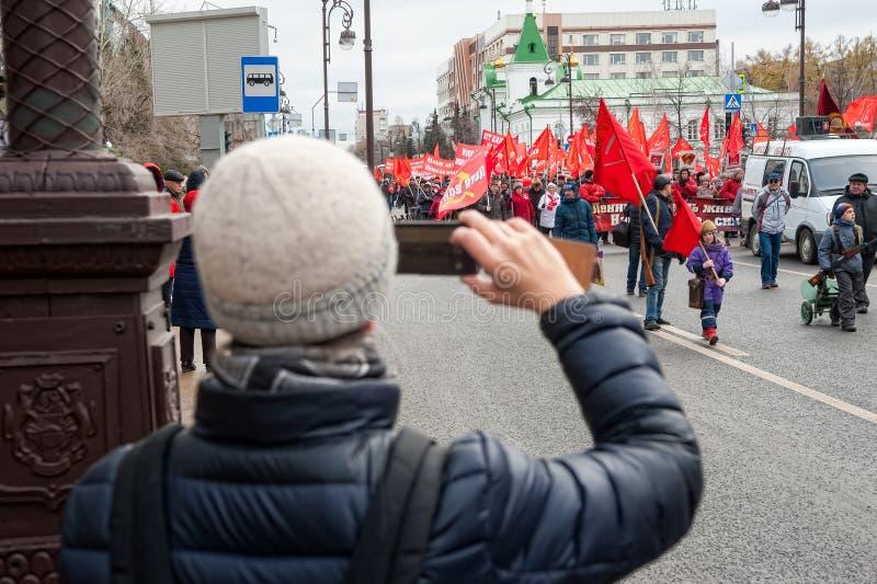 Membres de parti communiste sur se réunir Tyumen photos stock