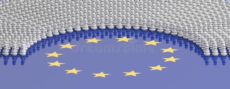 Membri del Parlamento Europeo come pegni di scacchi sulla bandiera di Unione Europea illustrazione 3D royalty illustrazione gratis