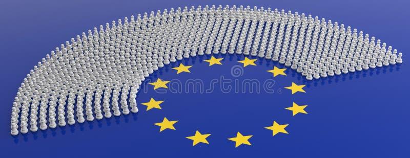 Membri del Parlamento Europeo come pegni di scacchi sulla bandiera di Unione Europea illustrazione 3D illustrazione vettoriale