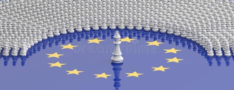 Membri del Parlamento Europeo come pegni e di un re di scacchi sulla bandiera di Unione Europea, insegna illustrazione 3D illustrazione di stock