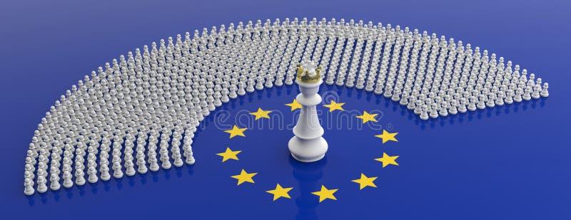 Membri del Parlamento Europeo come pegni e di un re di scacchi sulla bandiera di Unione Europea, insegna illustrazione 3D illustrazione vettoriale