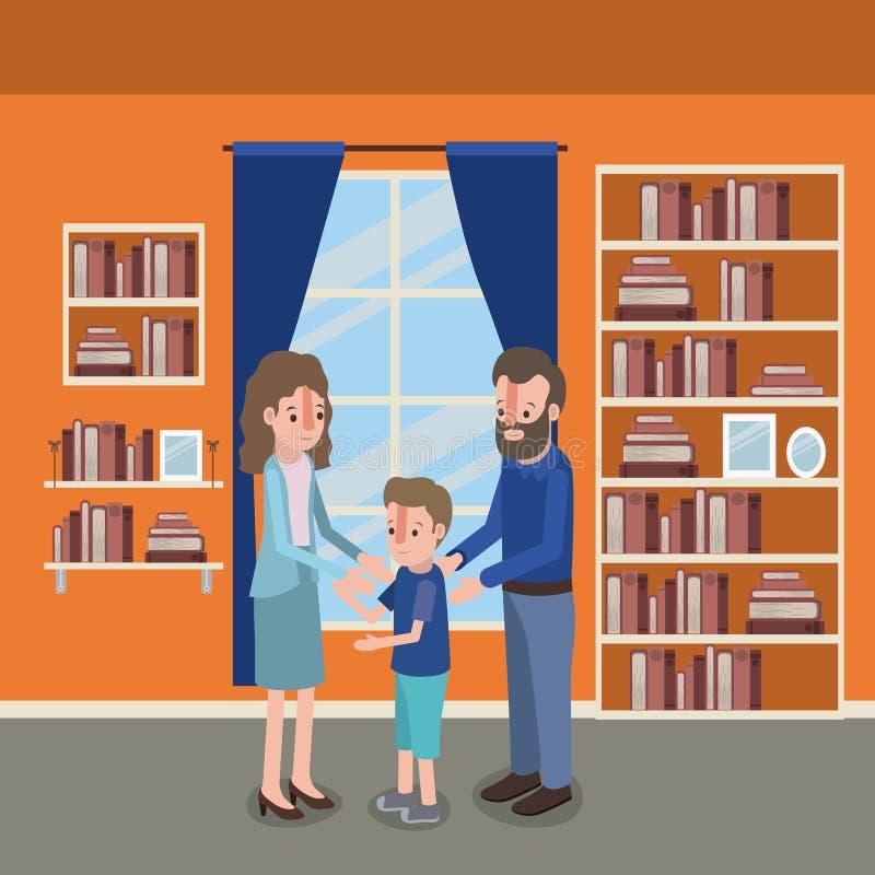 Membri della famiglia dentro la casa illustrazione di stock