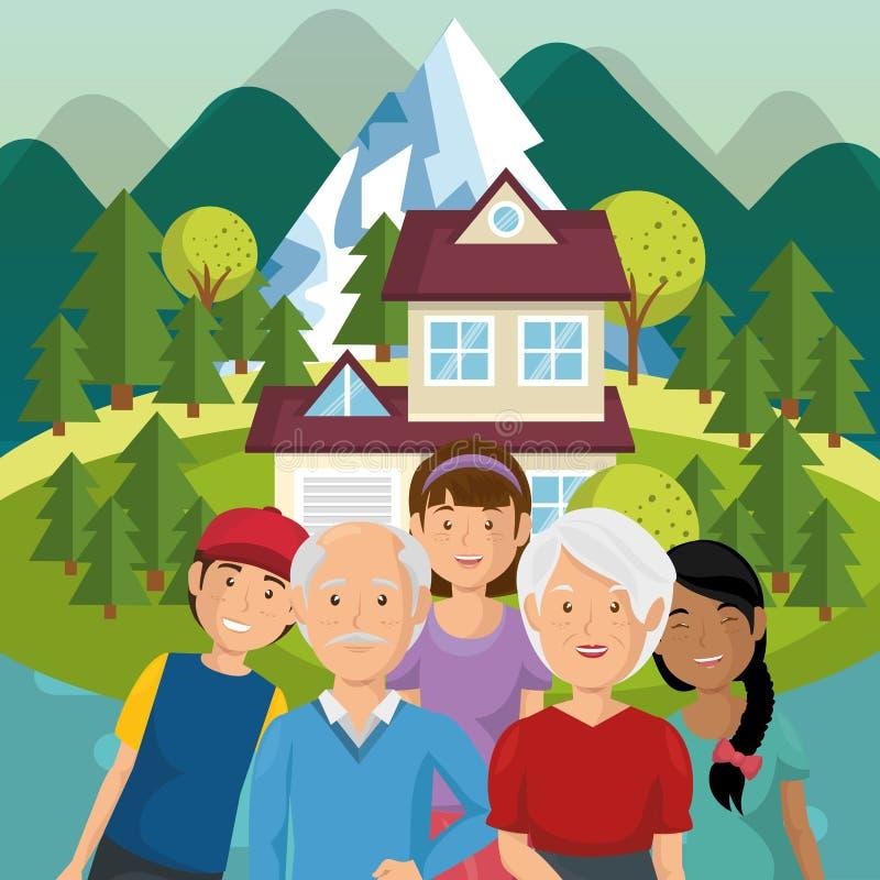 Membri della famiglia fuori della casa royalty illustrazione gratis