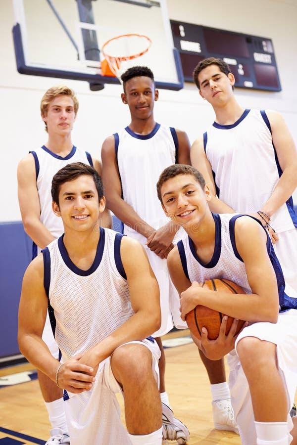 Membri della squadra di pallacanestro maschio della High School immagine stock libera da diritti