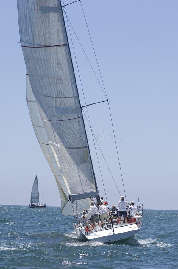Membri della squadra sulla barca a vela immagine stock libera da diritti
