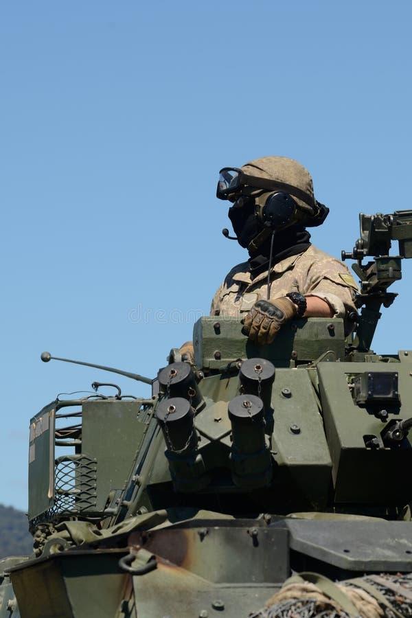 Membro d'equipaggio del lavabo che osserva fuori la giornata porte aperte per l'esercito del nz fotografie stock libere da diritti