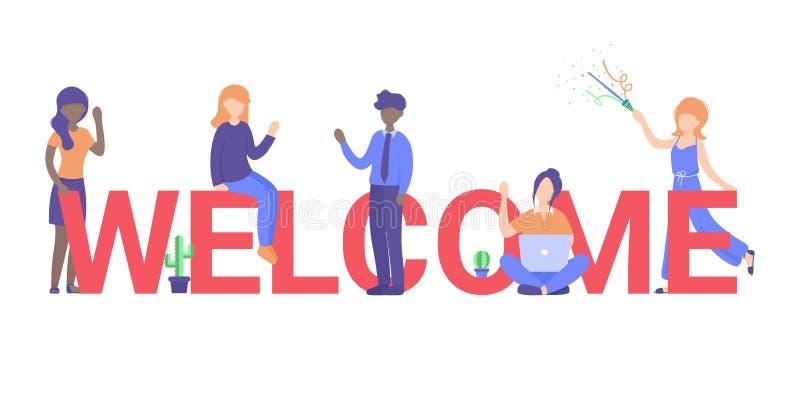 Membro da equipe novo do conceito, grandes letras bem-vindas ilustração do vetor