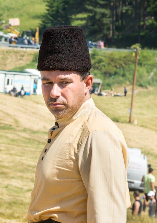 Membro del festival piega nazionale Rozhen in Bulgaria immagini stock libere da diritti
