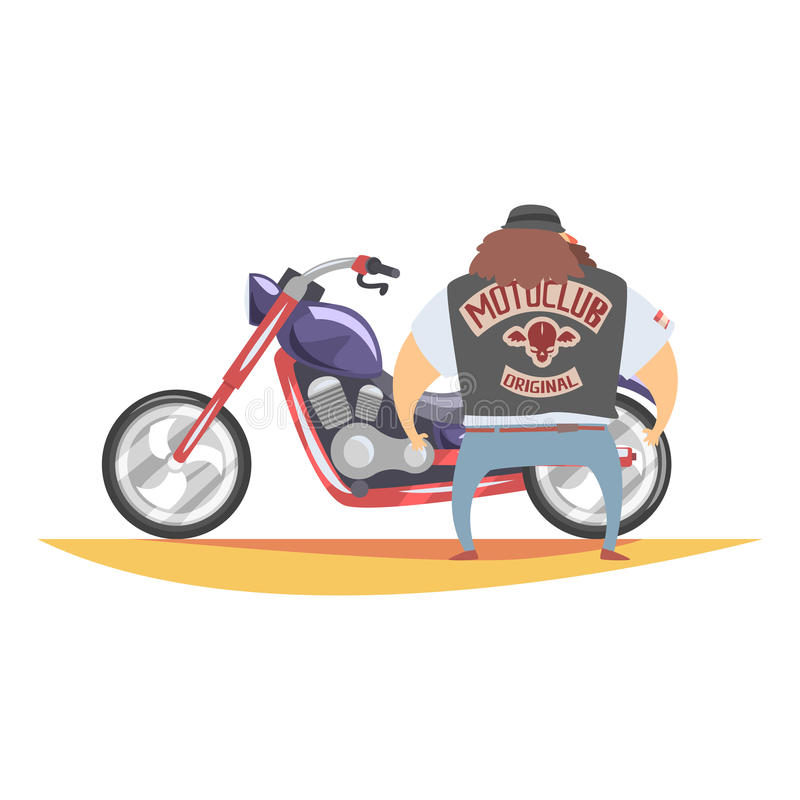 Membro di club proscritto del motociclista con la barba lunga e capelli di Brown che stanno accanto a Chopper In Leather Vest pes illustrazione vettoriale