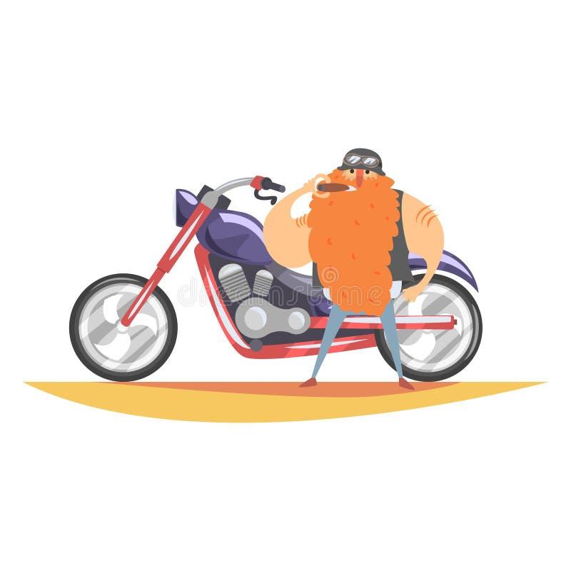 Membro di club proscritto del motociclista con la barba rossa lunga con la maglia pesante di Chopper And Cigar In Leather illustrazione vettoriale