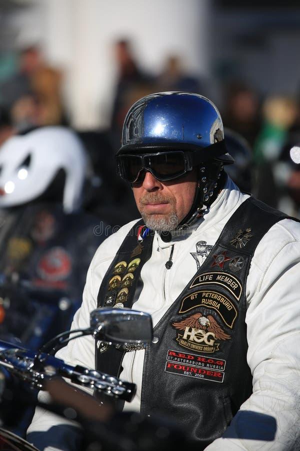 Membro a vita della Russia Harley Owners Group StPetersburg fotografia stock libera da diritti