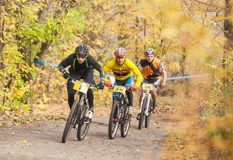 Membros da competição da raça de bicicleta que passa últimos quilômetros na raça fotos de stock
