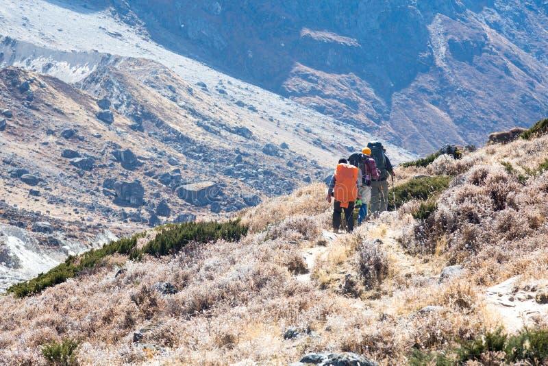 Membros da expedição da montanha que andam no passeio no vale foto de stock royalty free