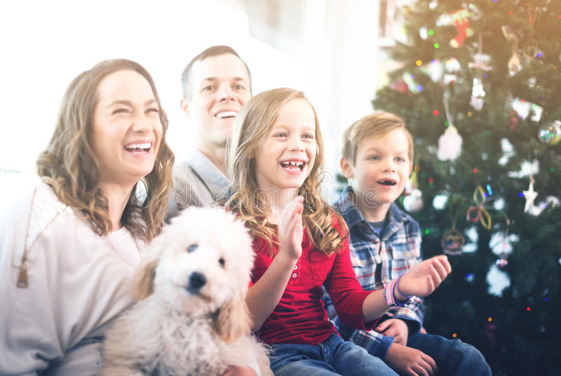 Membros da família alegres que passam o tempo do Natal imagem de stock