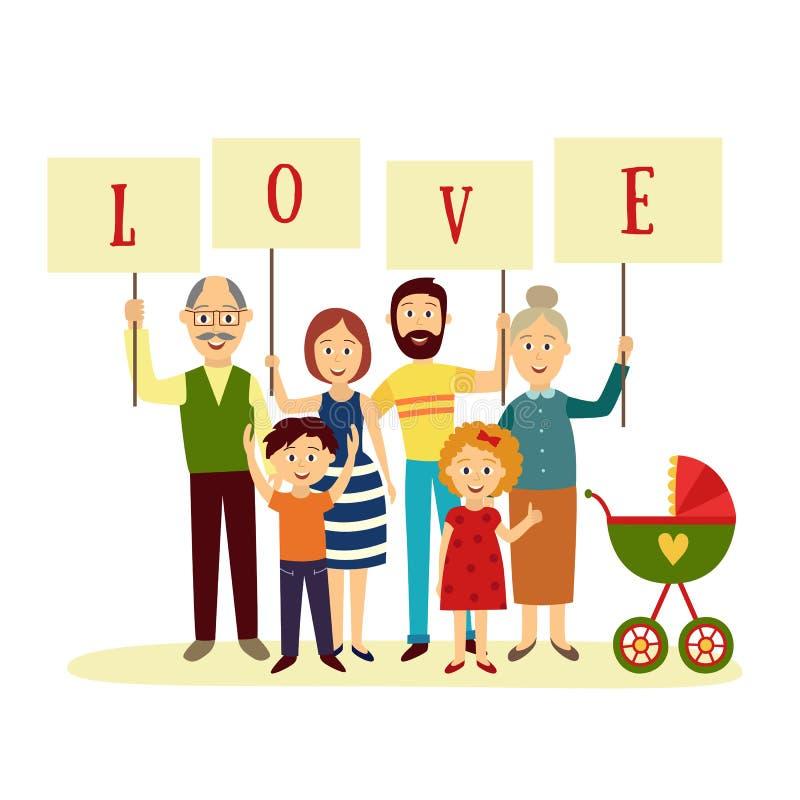 Membros da família felizes que guardam letras do amor da palavra ilustração do vetor