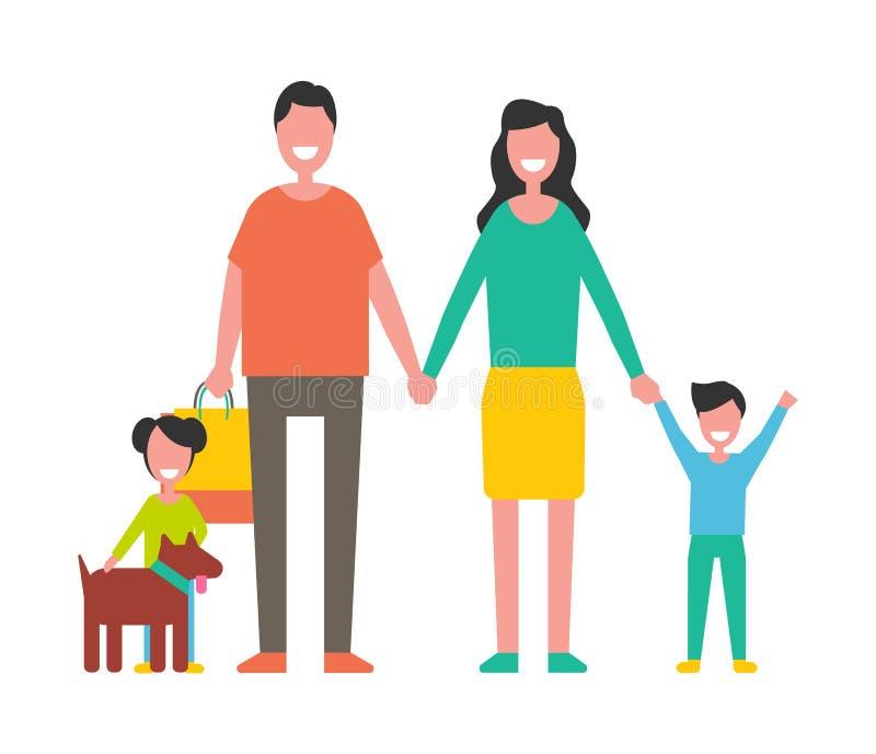 Membros da família mãe, pai, filhos e vetor do cão ilustração stock