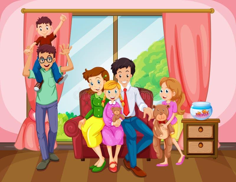 Membros da família na sala de visitas ilustração stock
