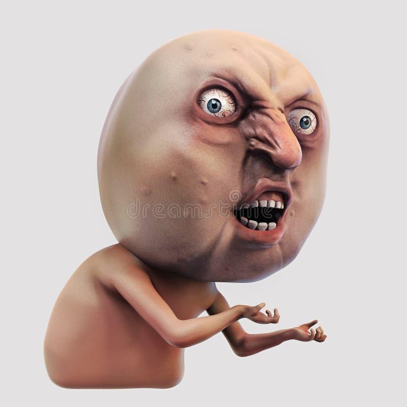 Meme de Internet porqué usted ningún Ejemplo de la cara 3d de la rabia ilustración del vector