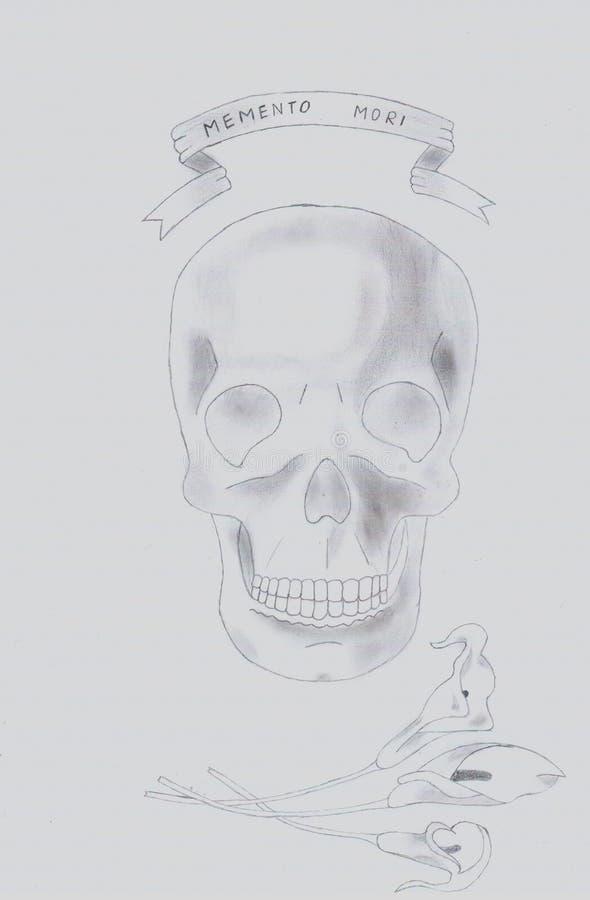 Memento mori crânio ilustração stock