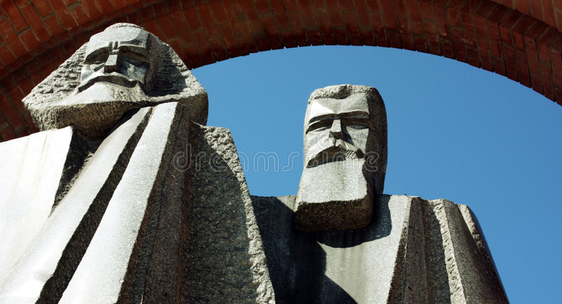 Memento Park - Marx and Engels. Memento Park is place with statues from `soviet-era` from different places in Hungary. It is interesting place and history royalty free stock photos