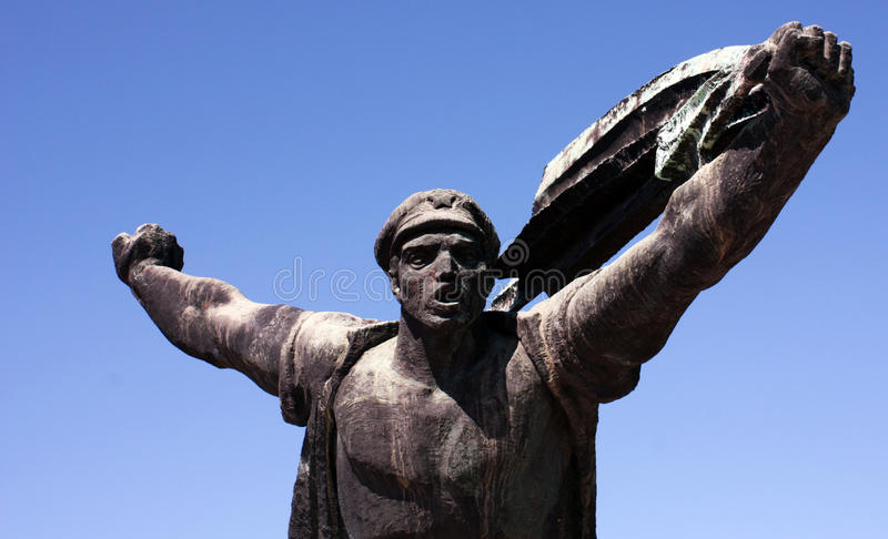 Memento Park - The Republic of Councils Monument. Memento Park is place with statues from `soviet-era` from different places in Hungary. It is interesting place stock photo