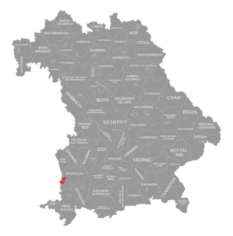 Memmingen miasta czerwień podkreślająca w mapie Bavaria Niemcy ilustracja wektor