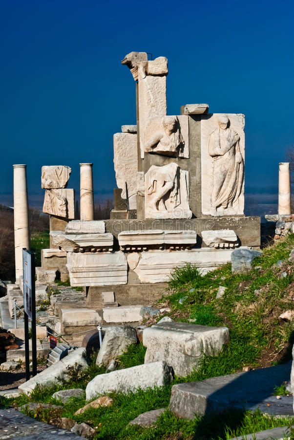 Memmius Monument at the ruins of Ephesus in Turkey royalty free stock images