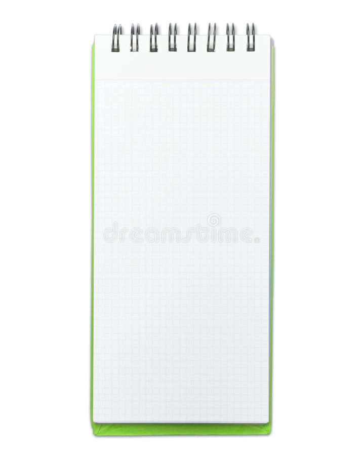 Memo pad with green cover isolated on white stock photo