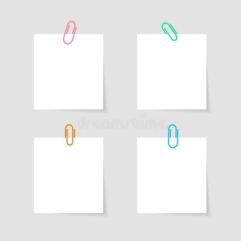 Memo paper with paperclip for office paperwork. Fastener, paperclip with blank notepaper. Attaching binder with white note sheet. Set of isolated color stock illustration