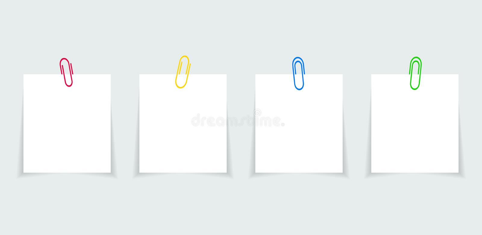 Memo paper with paperclip for office paperwork. Fastener, paperclip with blank notepaper. Attaching binder with white note sheet. Set of isolated color vector illustration