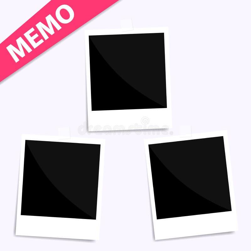 3 memo polaroid photo on wall vector illustration