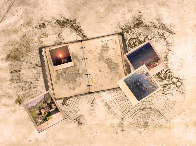 Memoirs. Sketch of a world on ancient paper and in the foreground a diary with photos of once royalty free illustration