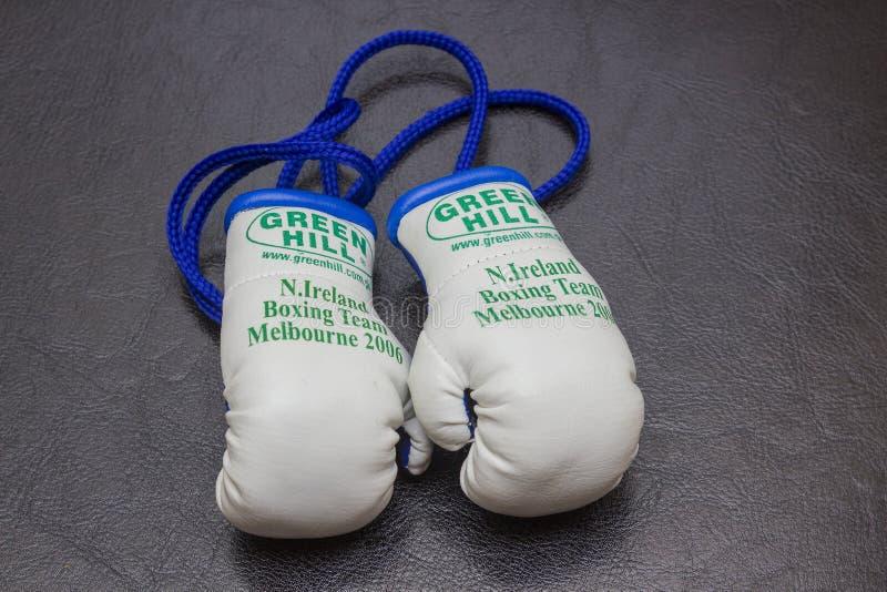 Memorabilia van het team miniatuur bokshandschoenen van Noord-Ierland de in dozen doende van de 2006 die Spelen van de Commonweal stock fotografie