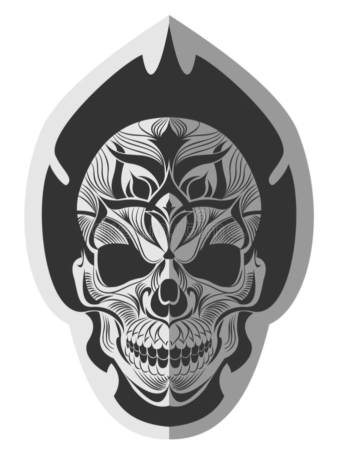 Memorable skull design art royalty free illustration