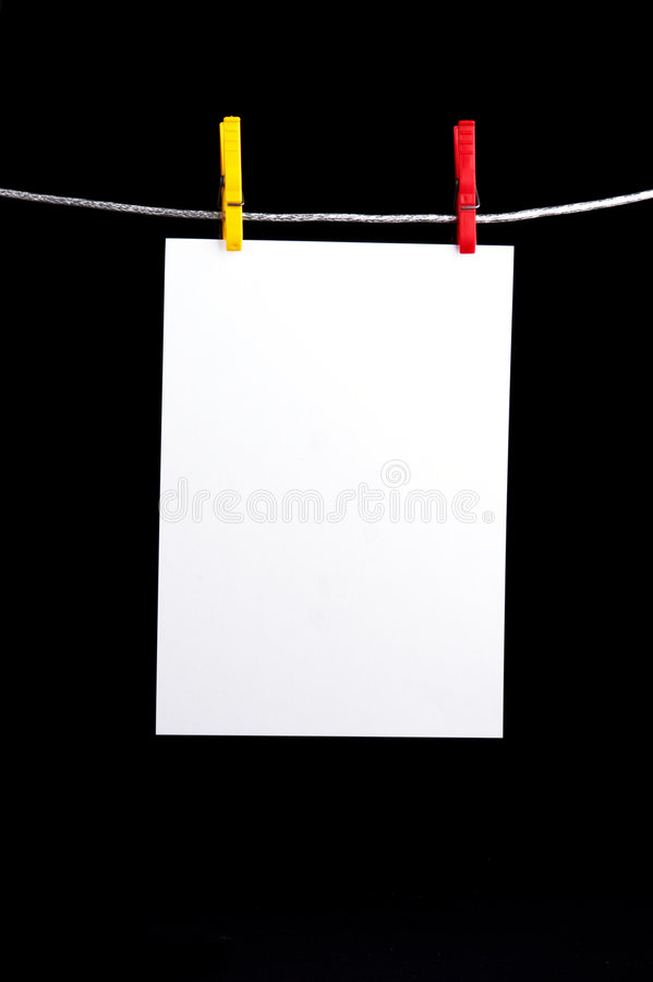 Memorando branco no clothesline foto de stock royalty free