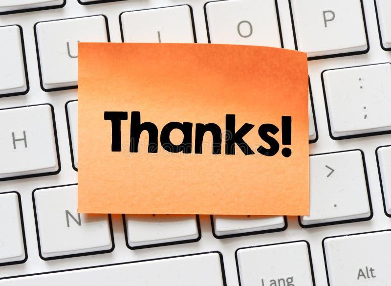 Memorando com palavra dos agradecimentos imagem de stock