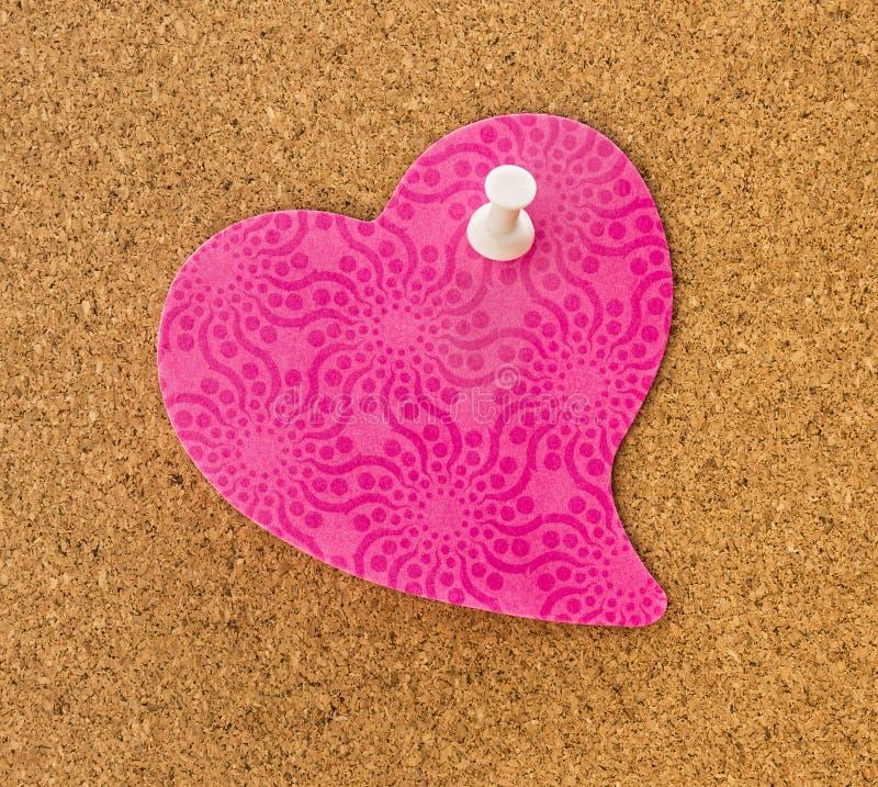 Memorando cor-de-rosa do coração fotografia de stock
