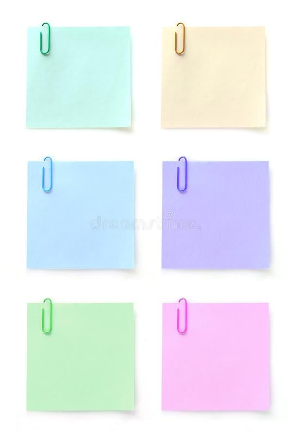 Memorando seis com grampo de papel fotos de stock royalty free