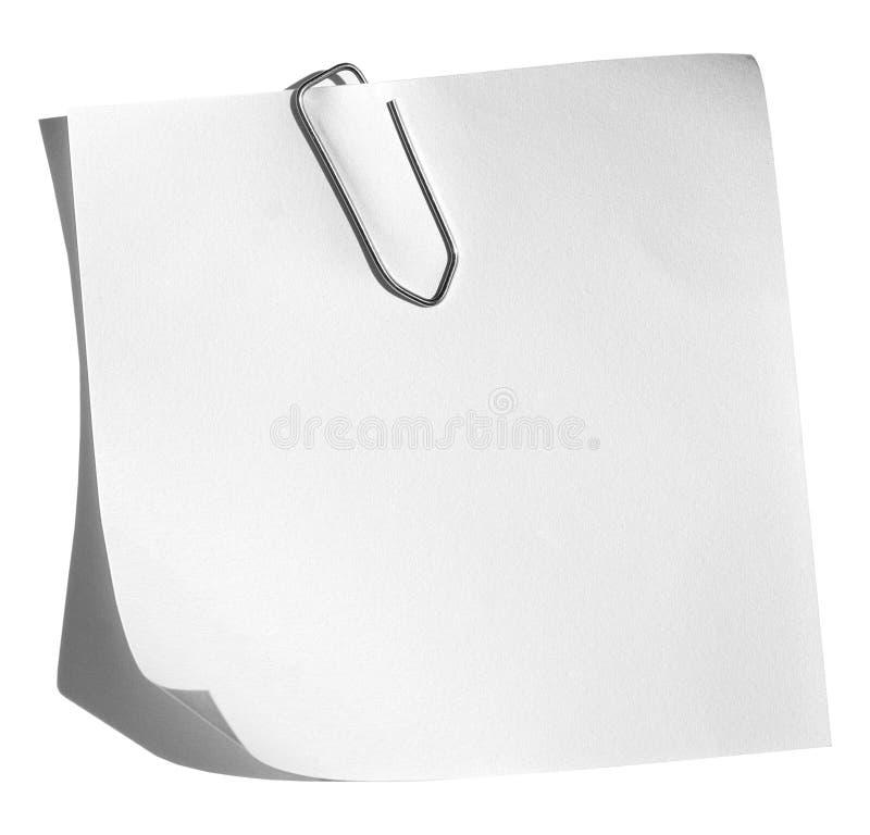 Memorandum met paperclip stock foto