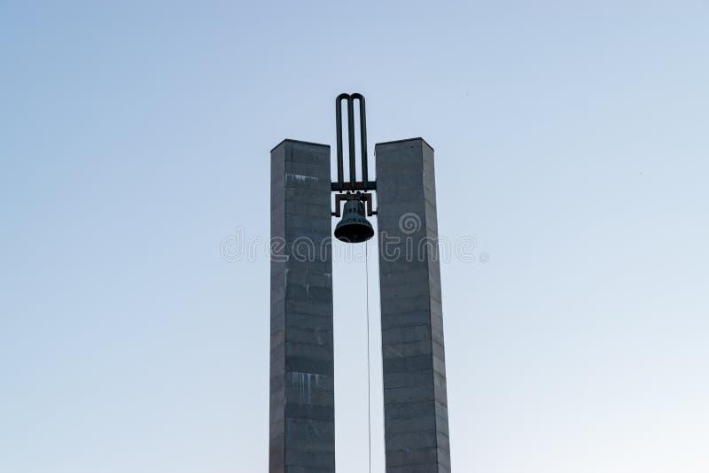 Memorandum Monument on Eroilor Avenue, Heroes` Avenue - a central avenue in Cluj-Napoca, Romania.  stock photography