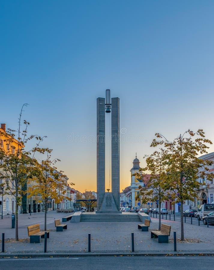 Memorandum Monument on Eroilor Avenue, Heroes` Avenue - a central avenue in Cluj-Napoca, Romania.  stock photo