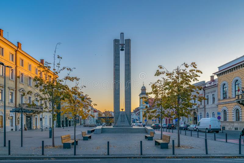 Memorandum Monument on Eroilor Avenue, Heroes` Avenue - a central avenue in Cluj-Napoca, Romania.  royalty free stock images