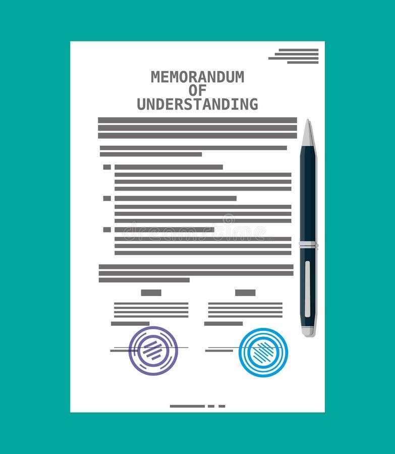Memorandum porozumienia dokument ilustracja wektor