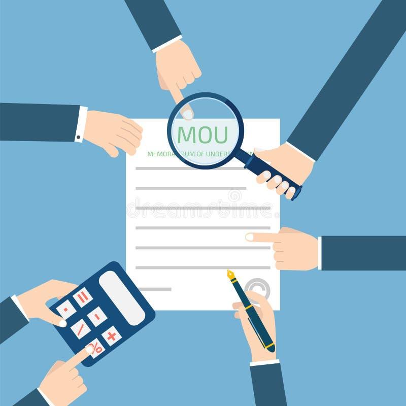 Memorandum porozumienia MOU również zwrócić corel ilustracji wektora royalty ilustracja