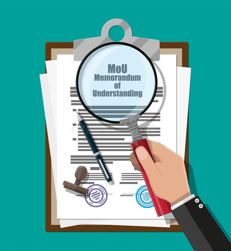 Memorandum van overeenstemmingdocument vector illustratie