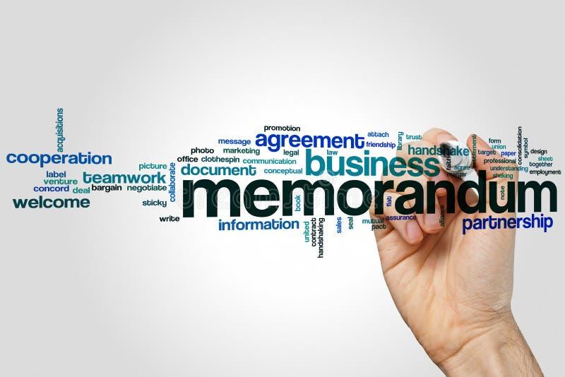 Memorandum word cloud. Concept on grey background royalty free stock photo