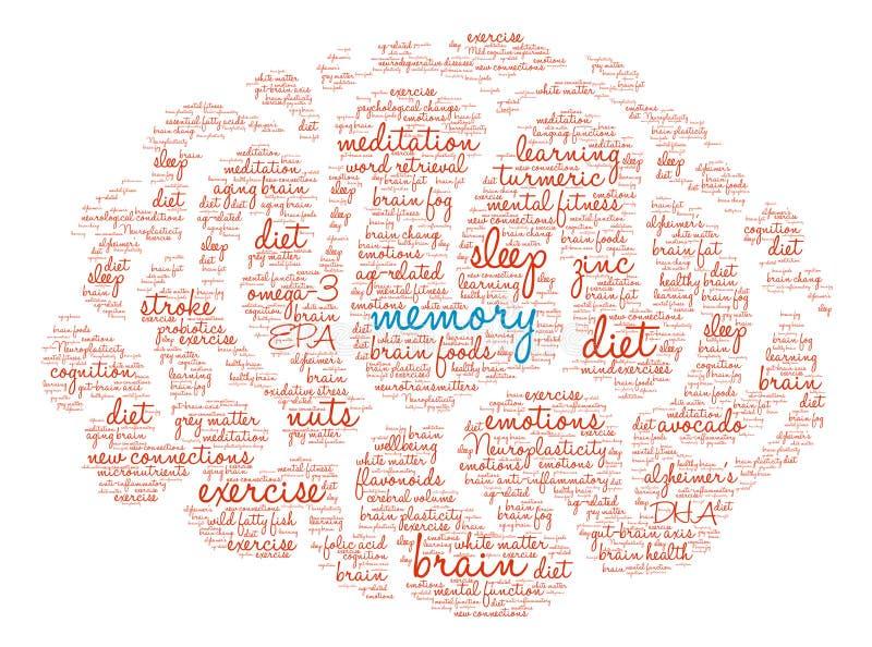 Memoria Brain Word Cloud ilustración del vector