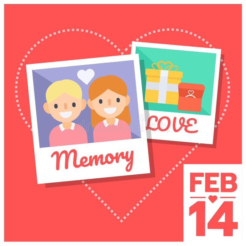 Memoria de la foto de los pares del amor stock de ilustración
