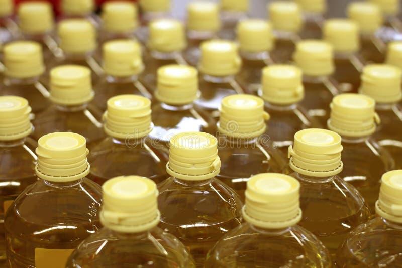 Memoria del magazzino della fabbrica del reticolo dell'olio del seme di girasole immagini stock libere da diritti