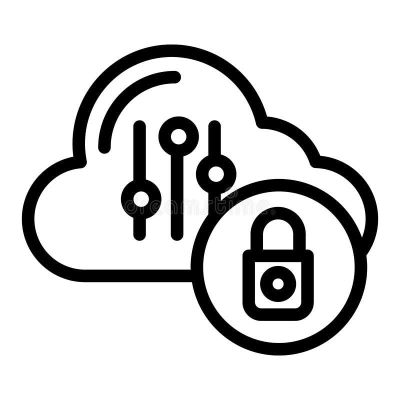 Memoria dell'elaboratore con di protezione di linea icona Nuvola con l'illustrazione di vettore del lucchetto isolata su bianco P illustrazione vettoriale